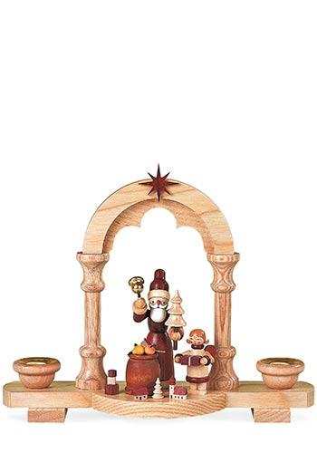 Kaarsenhouder Kerstman en Geschenken